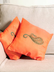 Pure Silk Zardozi Embroidered Cushion Covers - Small (Set of 2)