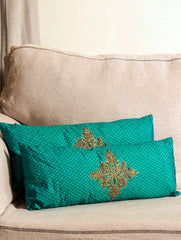 Pure Silk Zardozi Embroidered Slim, Oblong Cushion Covers with Fillers (Set of 2)