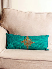 Pure Silk Zardozi Embroidered Slim, Oblong Cushion Cover with Filler