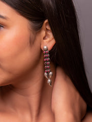 Pure Silver Earrings - Long Paisley Danglers
