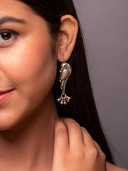 Pure Silver Earrings - Long Parrot Danglers