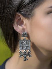 Pure Silver Earrings - Long Peacock Danglers