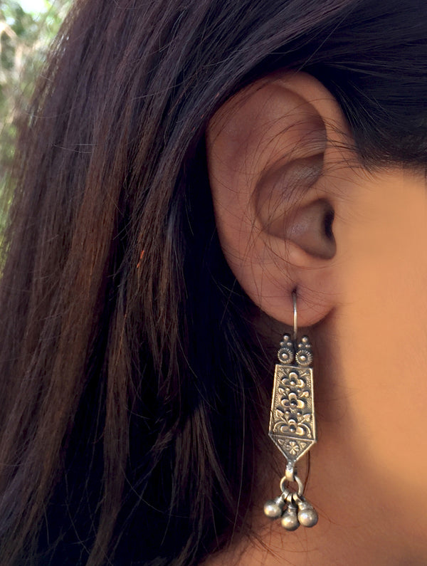 Silver Earrings - Floral Dangler - The India Craft House