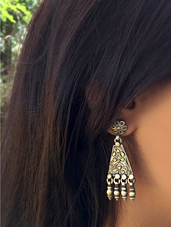 Silver Earrings - Floral Dangler with Studs - The India Craft House