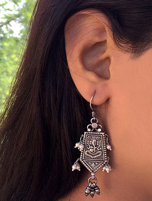 Silver Earrings - Ganesha Danglers with Small Pearls - The India Craft House
