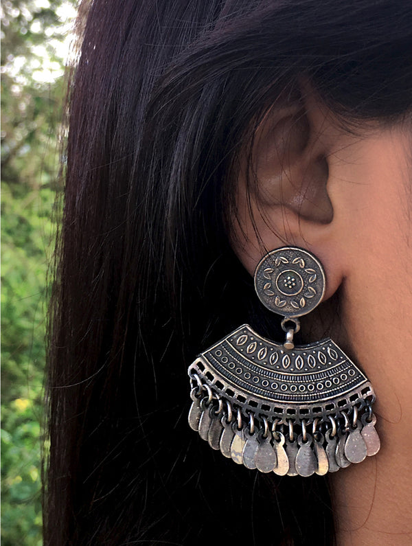 Silver Earrings -  Large Gypsy Danglers - The India Craft House