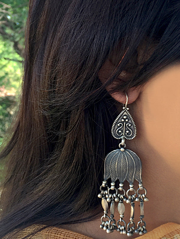 Silver Earrings -Large Lotus Danglers - The India Craft House