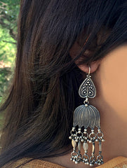 Silver Earrings -Large Lotus Danglers