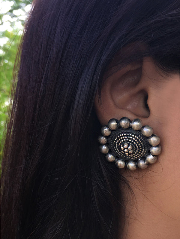 Silver Earrings - Large Round Golis Studs - The India Craft House