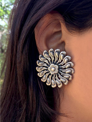 Silver Earrings - Large Round Parrots Stud - The India Craft House