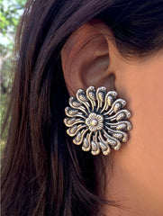 Silver Earrings - Large Round Parrots Stud