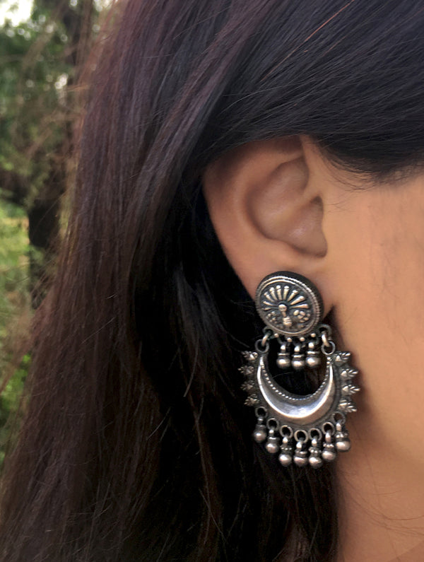 Silver Earrings - Long Baali Moon Dangler - The India Craft House