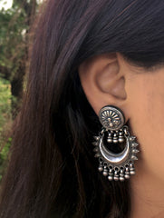 Silver Earrings - Long Baali Moon Dangler