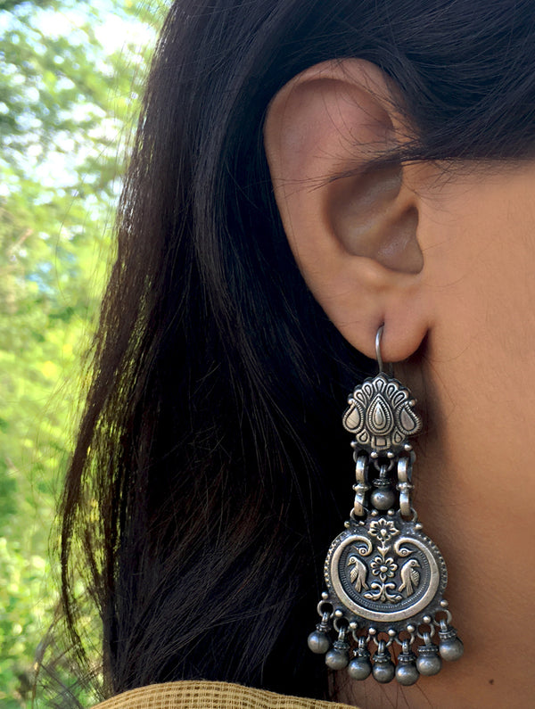 Silver Earrings - Long Dangler - The India Craft House
