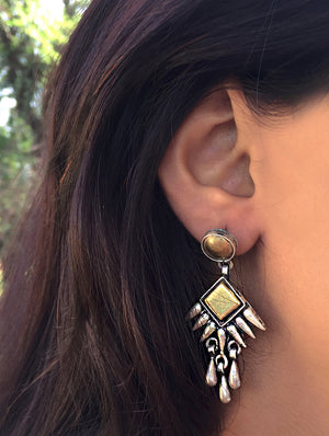 Silver Earrings - Long Dangler (Dull Gold Polish on Silver) - The India Craft House