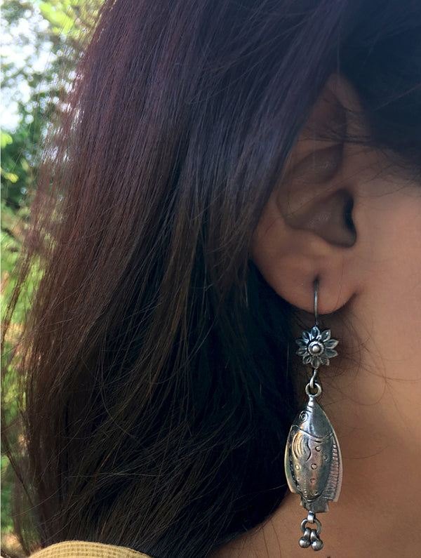 Silver Earrings - Long Fish Dangler - The India Craft House