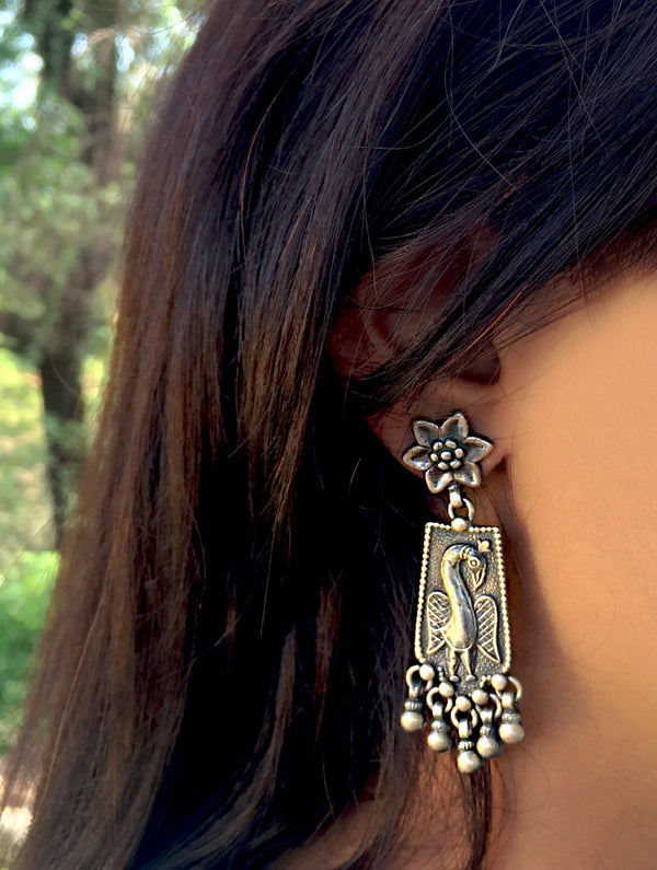 Silver Earrings - Long Peacock Danglers - The India Craft House