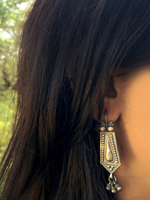 Silver Earrings - Long Teardrop Danglers - The India Craft House