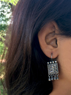 Silver Earrings - Lord Hanuman Dangler - The India Craft House