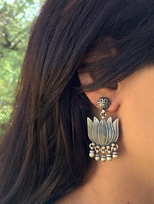 Silver Earrings - Lotus Danglers with Studs - The India Craft House
