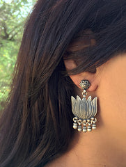 Silver Earrings - Lotus Danglers with Studs