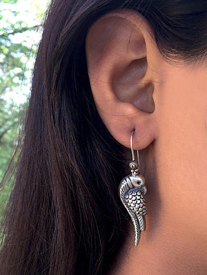 Silver Earrings - Parrot Dangler - The India Craft House