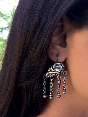 Silver Earrings - Peacock Dangler - The India Craft House