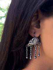 Silver Earrings - Peacock Dangler