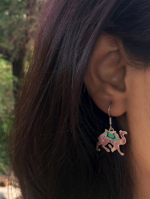 Silver Meenakari Earrings - Camel - The India Craft House