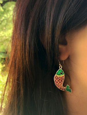 Silver Meenakari Earrings - Fish - The India Craft House