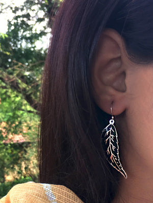 Silver Meenakari Earrings - Leaf - The India Craft House