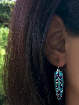 Silver Meenakari Earrings - Diamond Shape - The India Craft House