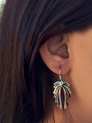 Silver Meenakari Earrings - Lotus