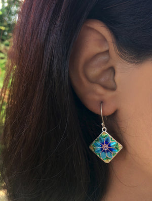 Silver Meenakari Earrings - Square Floral - The India Craft House