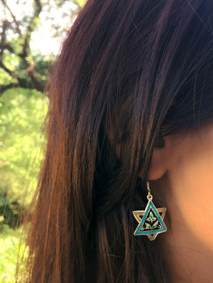 Silver Meenakari Earrings - Star - The India Craft House