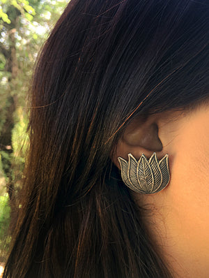Silver Stud Earrings - Lotus - The India Craft House