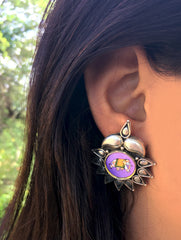 Silver Stud Earrings with Miniature Painting - Elephant