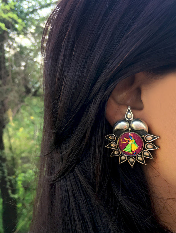 Silver Stud Earrings with Miniature Painting - Radha Krishna - The India Craft House