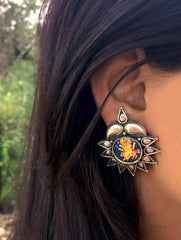 Silver Stud Earrings with Miniature Painting - Lord Ganesha