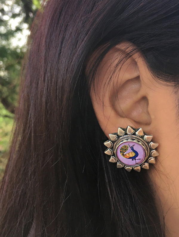 Silver Stud Earrings with Miniature Painting - Peacock - The India Craft House