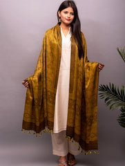 Exclusive Pure Gaji Silk With Ajrakh Block Printing Dupatta