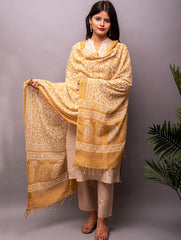 Fine cotton Batik Dupatta with Dull Gold Striped Border