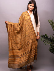 Tussar Silk with Ajrakh Block Printing Dupatta