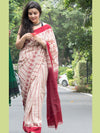 Traditional Ikat Cotton Saree - Red & Off-White