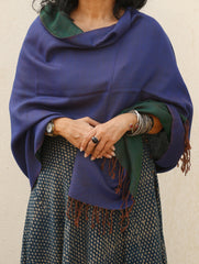 Reversible Soft Kashmiri Wool Stole, Blue & Dark Green