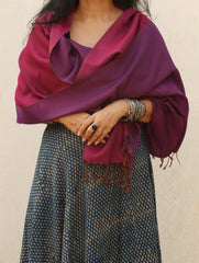 Reversible Soft Kashmiri Wool Stole, Purple & Dark Mulberry Pink