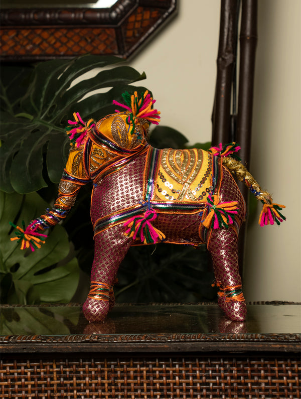 Rajasthan Large Elephant Cloth Curio - The India Craft House