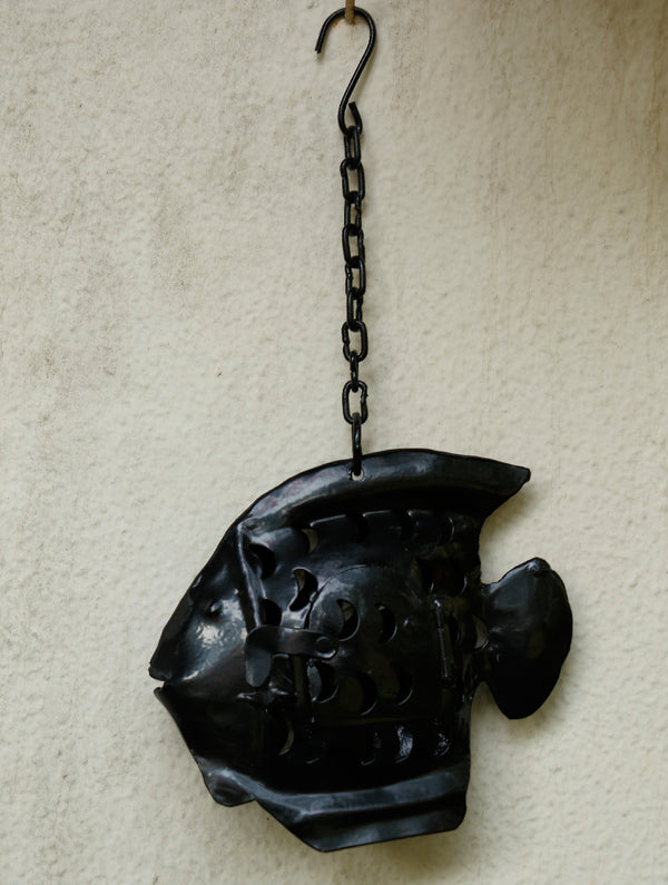Rajasthani Metal Craft Hanging - Lantern Fish (Small) - The India Craft House