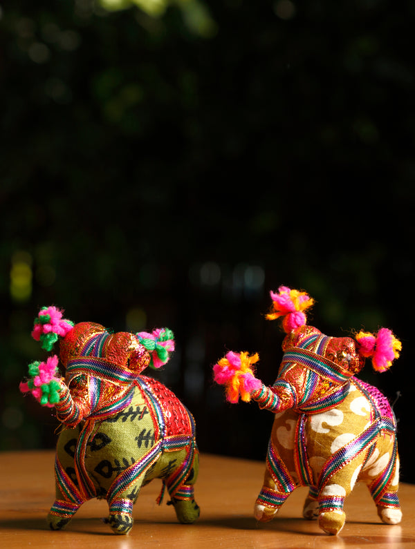 Rajasthan Small Elephant Cloth Curio Set of 2 - The India Craft House