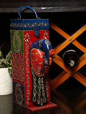 Rajasthani Art - Painted Wood Wine Box, Peacock